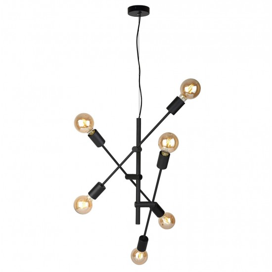 Lustra Italux Ferreia, negru mat, 6XE27, D.55 cm, PND-5986-6-BL