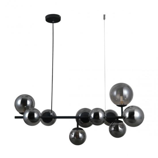 Lustra Italux Frontera, negru, sticla fumurie, 10XG9, L.85 cm, PND-40423-10