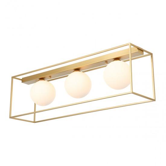 Plafoniera Italux Mediamo, aur mat, sticla, 3XG9, L.68 cm, MXM-4582/3 GD