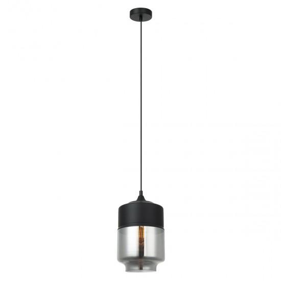 Suspensie Italux Molina, negru, sticla fumurie, 1XE27, D.18 cm, MDM-2377/1 BK+SG