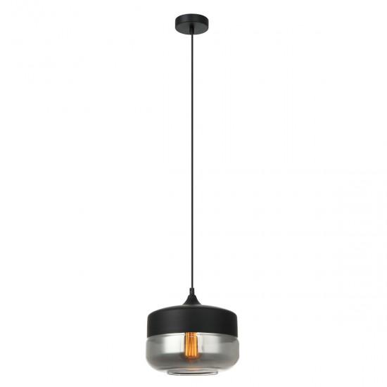 Suspensie Italux Molina, negru, sticla fumurie, 1XE27, D.25 cm, MDM-2380/1 BK+SG