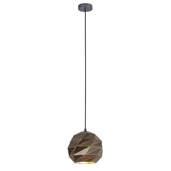 Suspensie Italux Palermo, antracit, 1XE27, D.23 cm, PND-2424-1S-GR+GD