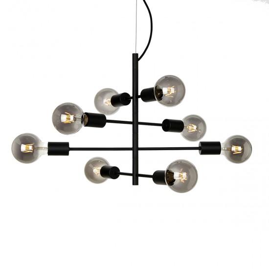 Lustra Italux Portel, negru mat, 8XE27, 55 cm, PND-02431-8-BL