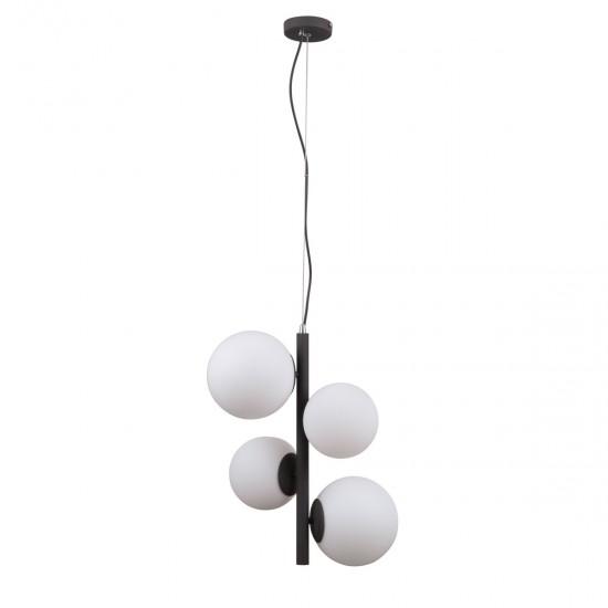 Lustra Italux Riga, negru, sticla, 4XE14, 41 cm, PND-44213-4A-SBL