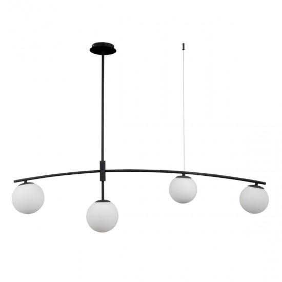 Lustra Italux Senai, negru, sticla, 4XG9, L.110 cm, PND-31322-4A-SB