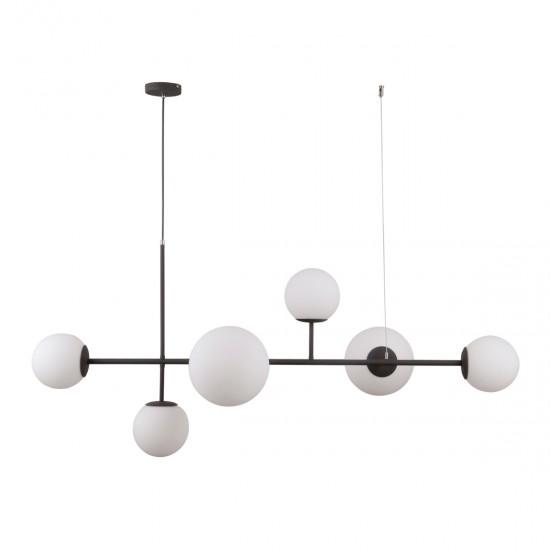 Lustra Italux Vailante, negru, sticla, 6XE14, L.115 cm, PND-31221-6A-SBL