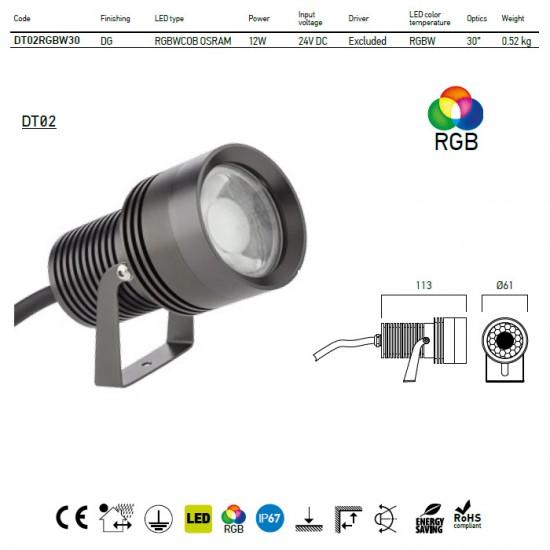 Proiector XDot 12W RGB IP67 DT02